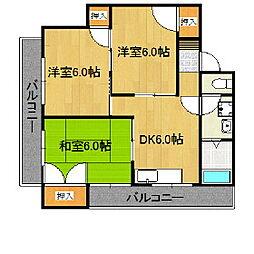 福岡県久留米市東櫛原町の賃貸マンションの間取り