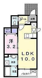 JR予讃線 端岡駅 徒歩32分の賃貸アパート 1階1LDKの間取り