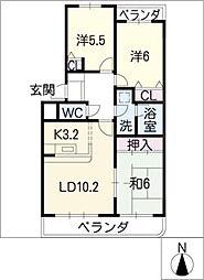 シャンブルクレール[2階]の間取り