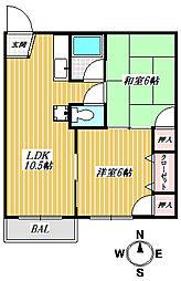 コーポ富士[203号室号室]の間取り