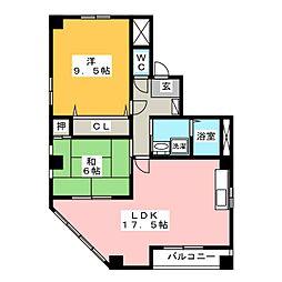 サンエール新宿[2階]の間取り