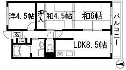 兵庫県伊丹市西野6丁目の賃貸マンションの間取り