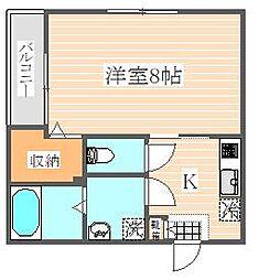 福岡県福岡市東区筥松2の賃貸アパートの間取り