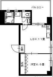 エスティームイースト 4階1LDKの間取り