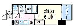 神戸高速東西線 新開地駅 徒歩6分の賃貸マンション 11階1Kの間取り