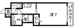 JR大阪環状線 寺田町駅 徒歩4分の賃貸マンション 9階1Kの間取り