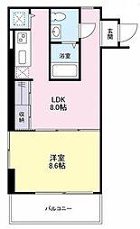 JR山手線 恵比寿駅 徒歩8分の賃貸マンション 4階1LDKの間取り