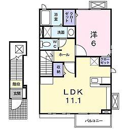 カーサリベルタB[2階]の間取り