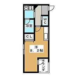 彩館 3階ワンルームの間取り