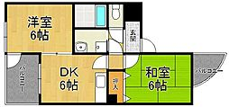 兵庫県尼崎市南武庫之荘6丁目の賃貸マンションの間取り