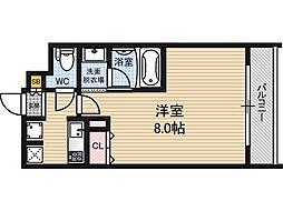 ゲートコート大阪福島 8階1Kの間取り