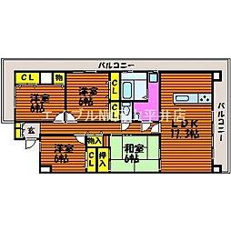 岡山県岡山市中区兼基丁目なしの賃貸マンションの間取り