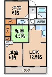 和歌山県和歌山市西小二里3丁目の賃貸アパートの間取り