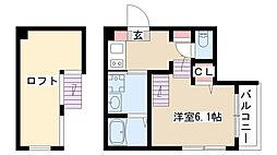 愛知県名古屋市昭和区広瀬町1丁目の賃貸アパートの間取り
