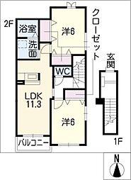 プレシアスフィ−ルドB[2階]の間取り