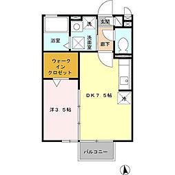 神奈川県厚木市長谷の賃貸アパートの間取り