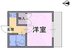 大和高田第20マンション 1階1Kの間取り