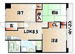 岡田グリーンハイツ[1階]の間取り