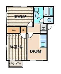 ベルハイツC棟[1階]の間取り