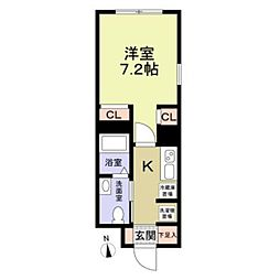 東武東上線 大山駅 徒歩6分の賃貸マンション 4階1Kの間取り