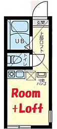 ユナイト白楽ルーシア 2階ワンルームの間取り