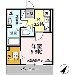 仮称)D-room東静岡 2階1Kの間取り