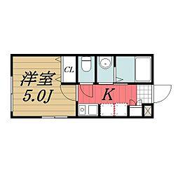 京成本線 京成成田駅 バス8分 土屋下車 徒歩6分の賃貸アパート 1階1Kの間取り