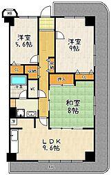 ネオコーポ大津湖城ケ丘A棟[8階号室]の間取り