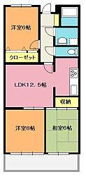 埼玉県北本市中央1丁目の賃貸マンションの間取り