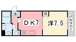 兵庫県姫路市東雲町5丁目の賃貸マンションの間取り