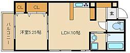 エスポワール瓢箪山 2階1LDKの間取り