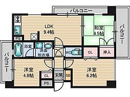 セレッソコート新大阪シティ[4階]の間取り