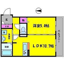 シャーメゾン高瀬09 2階1LDKの間取り