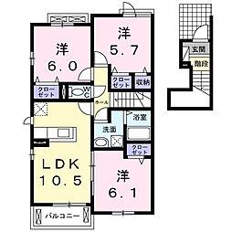 グレイスタウン丸領D[2階]の間取り