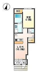 神奈川県海老名市中新田5丁目の賃貸アパートの間取り