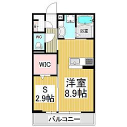 コンフォーティア白板D-room 1階ワンルームの間取り