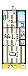 金子コーポ[1階]の間取り
