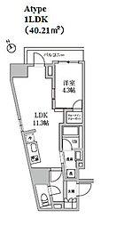 レジディア日本橋馬喰町II[1201号室]の間取り