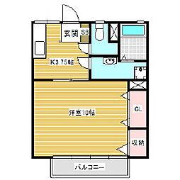 信大前青山ハイツ[2階]の間取り