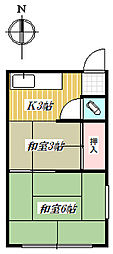 鈴木荘[201号室]の間取り