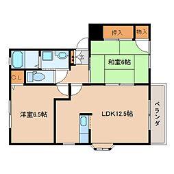 奈良県香芝市旭ケ丘の賃貸アパートの間取り