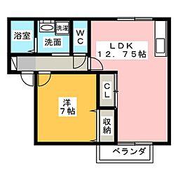 便船塚ハイツA[1階]の間取り