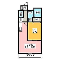 パールコート中田[3階]の間取り