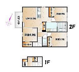 D-room上二十町[2階]の間取り
