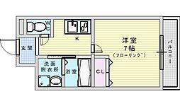 阪急千里線 淡路駅 徒歩7分の賃貸マンション 2階1Kの間取り