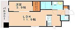 福岡県福岡市東区多の津4丁目の賃貸マンション 12階1LDKの間取り