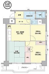 横浜若葉台[3-6-1206号室]の間取り