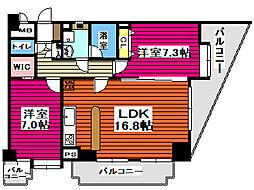 仙台市営南北線 北仙台駅 徒歩8分の賃貸マンション 9階2LDKの間取り