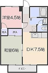 メゾンカルム富田[2階]の間取り
