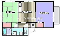 岡山県岡山市中区赤田丁目なしの賃貸アパートの間取り